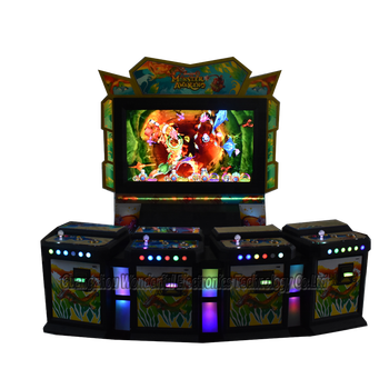 4 seats wall type IGS yue hua real version Monster Awaken 55 inch TV monitor fish game machine gambling slot come with bill box