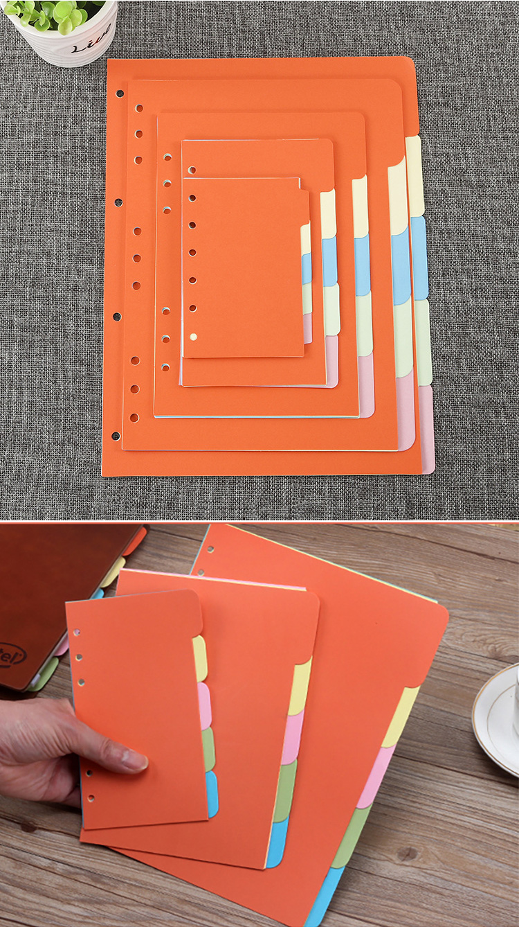 Wholesale A5 A6 B5 Plastic Pocket  Multicolor Tab Dividers 6 Ring Binders Index Page Tab Cards For Travel Diary Notebook
