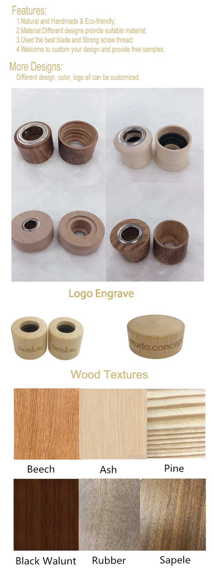 Wooden cap with screw inside for reed diffuser use