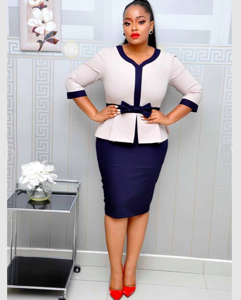 Good quality two-piece set peach collar bow decoration commuting office ladies formal plus size dress FM-AM343