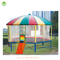Colorful and cute round kids bed slide with canopy/trampolines for sale cheap/trampoline game park QX-18105A