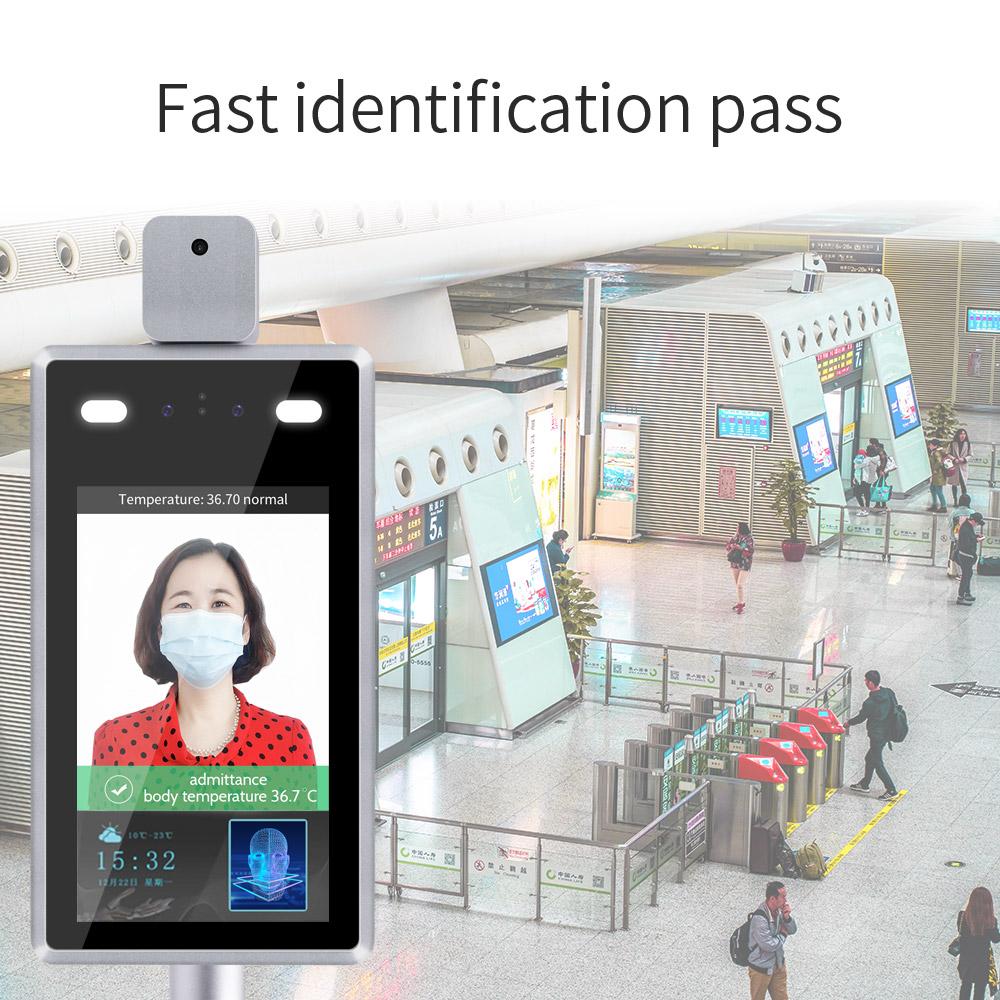 walk through body temperature scanner measurement monitor termometro digital ai facial face recognition camera