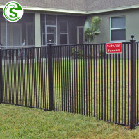 Black powder coated tubular fence design security bending top warden fencing