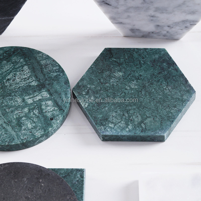 Custom pattern/shape coffee table round/hexagon marble coaster