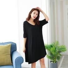 Женское ночное платье из модала с коротким рукавом, сексуальная летняя ночная рубашка с v-образным вырезом, свободная ночная рубашка большо...(Китай)
