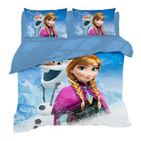 Wholesale 3D Digital Print Children's Brushed 3-piece Set Foreign Trade Hot Frozen Princess Aisha Bedding