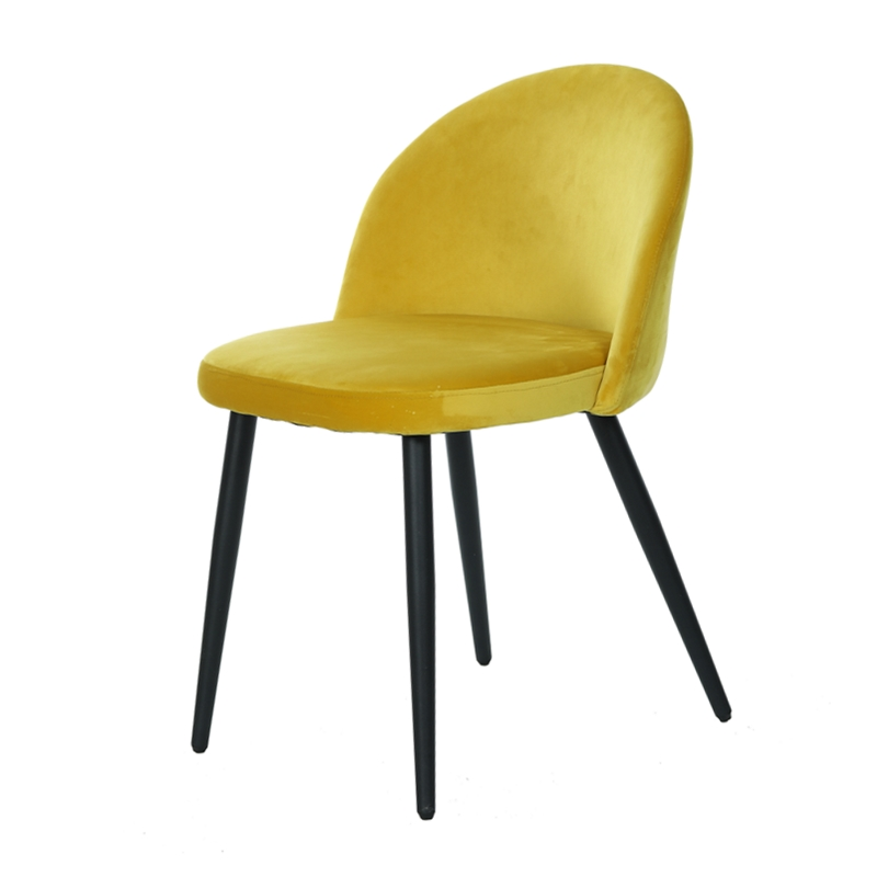 China factory wholesale dining room furniture luxury modern velvet fabric upholstered dining chairs with powder coating legs