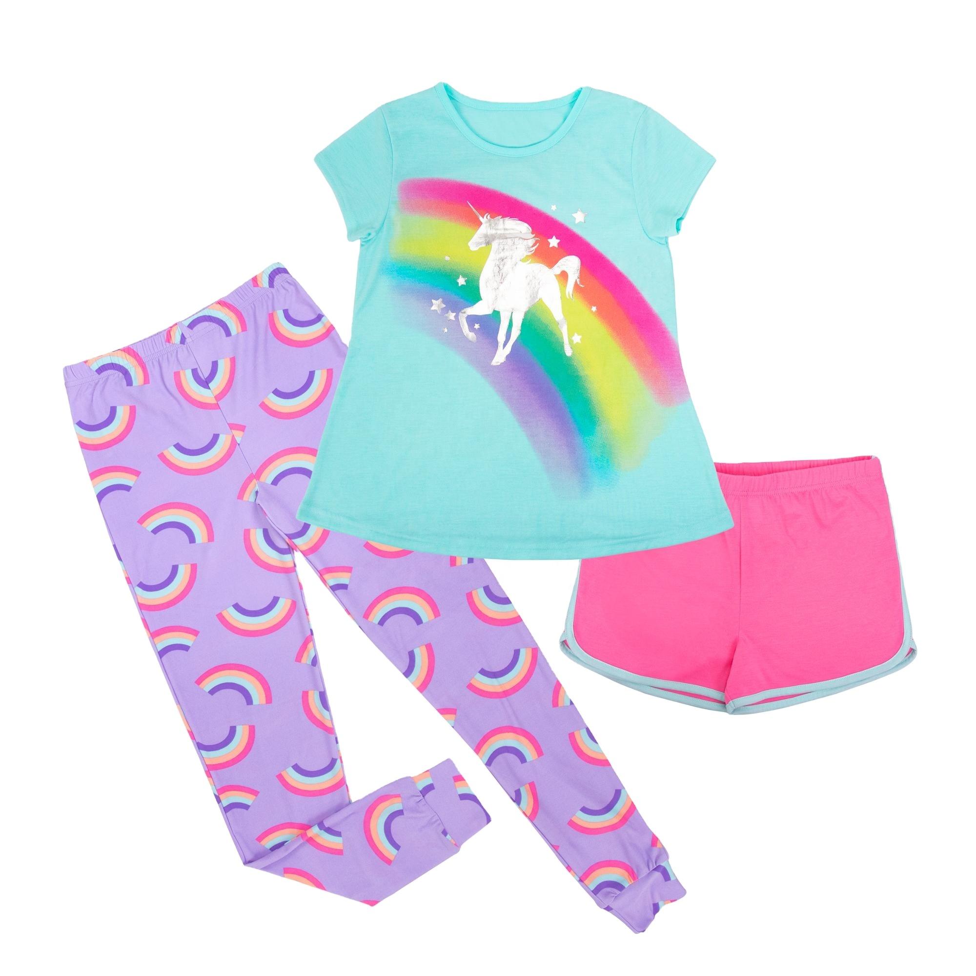 Rainbow Unicorn Tee Shirt Seluruh Cetak Anak-anak P-Urple Celana OEM Anak-anak FR Baju Tidur Gadis Piyama Set