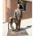 Life Size Thirty-Second American President And Dog Bronze Sculpture