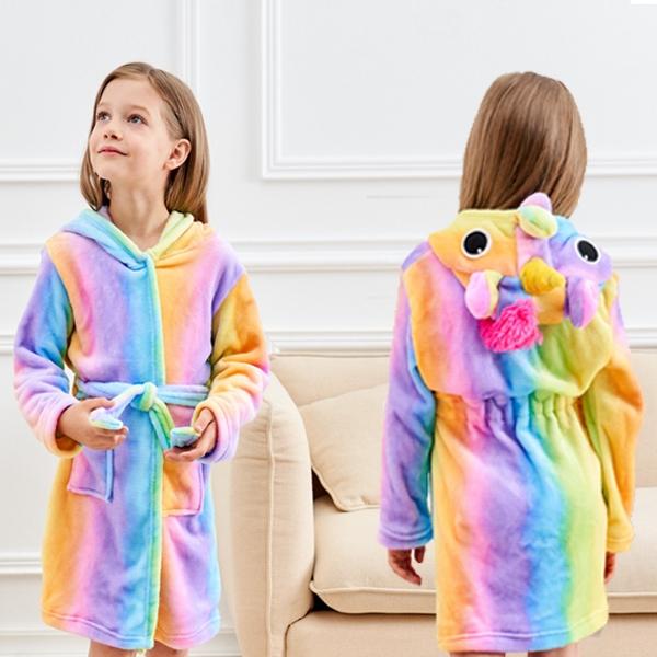 カスタム子供パジャマカラフルなかわいい動物パジャマナイトウェアソフトパジャマユニコーンフード付き女の子浴衣子供のための