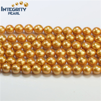 Dyed Golden Color Edison Pearls 10-11MM Round Nuclear Freshwater Big Pearl