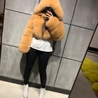 Fox Coat Fox Hooded Fur Coat 2020 Hot Sale Colored Short Crapped Bubble Real Fox Fur Hooded Coat For Woman Trendy With Hooded