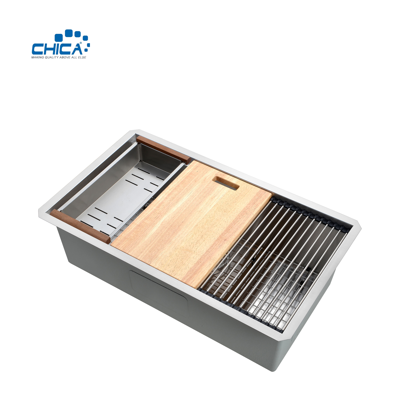 30X19X10 Topmounted 303 304 Stainless Steel Handmade single Bowl Kitchen Sink for Farmhouse
