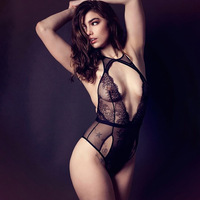 Hollow Out Black Sexy Hot Transparent Hang Neck Backless Women Lingerie Sleepwear