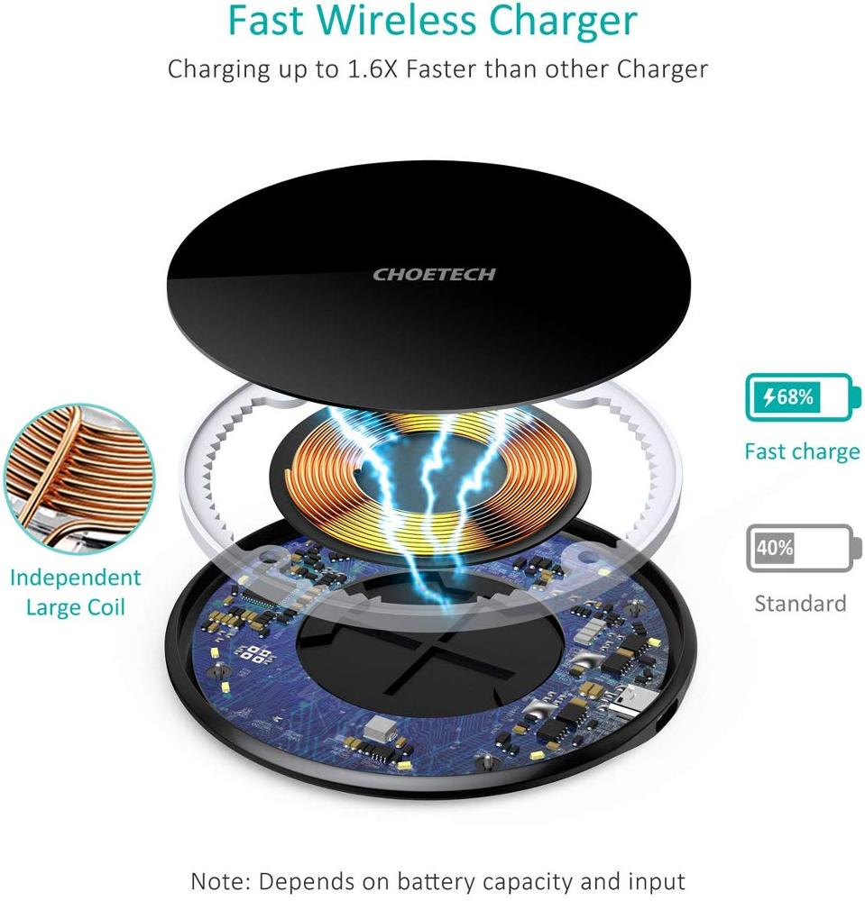 CHOETECH USB-C 15W Zinc Alloy Glass Wireless Charging Pad with QC 3.0  Adapter Compatible