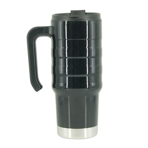 Double Wall 24 oz Black Insulated Stainless Steel Travel Coffee Mug