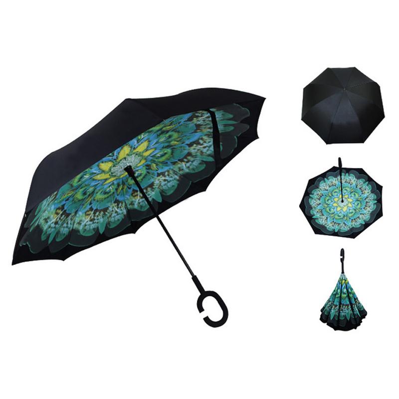 Reverse Inverted Handle Double Layer Custom Branded Logo Inverted Handsfree Patents Umbrella