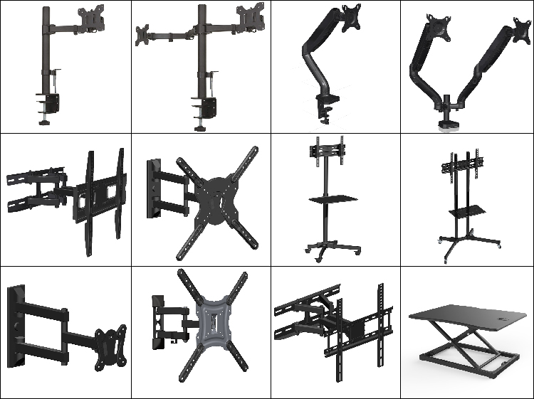 Brand New Geometric Aluminum Full Motion Swivel TV Wall Mount