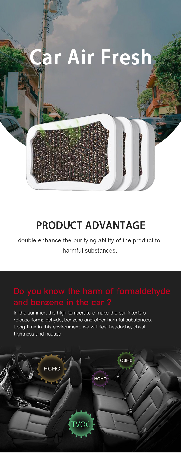 QX-Q-010 New Composite Nanomaterial Car Formaldehyde Odor Eliminator Portable Car Air Cleaner Purifier Freshener