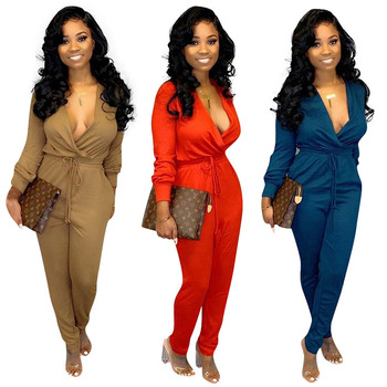 Wholesale Deep V Neck Long Sleeve V Neck Tie Up Long Rompers Women Jumpsuit 2019
