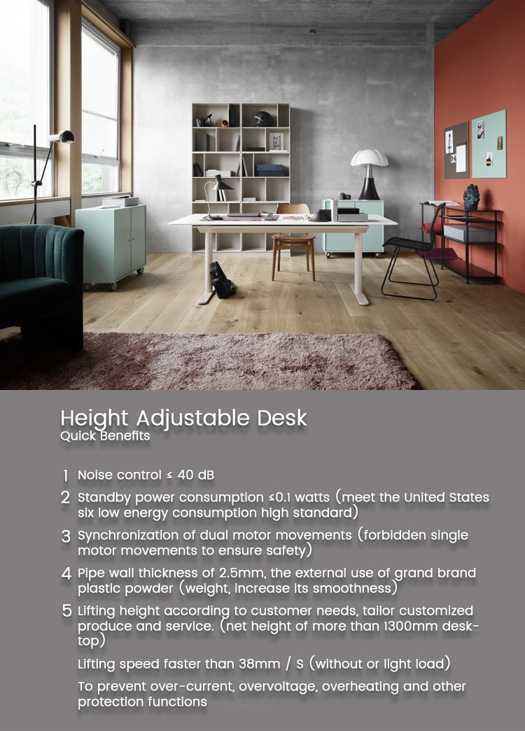 Healthy Life Office Furniture Double Workstation Modern Electric Height Adjustable Desk