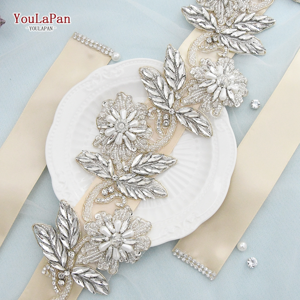 YouLaPan S427 Bride Waistband Belt with Glinting Rhinestone Leaves ,Wedding Sash Belts for Evening Party Dress Accessories