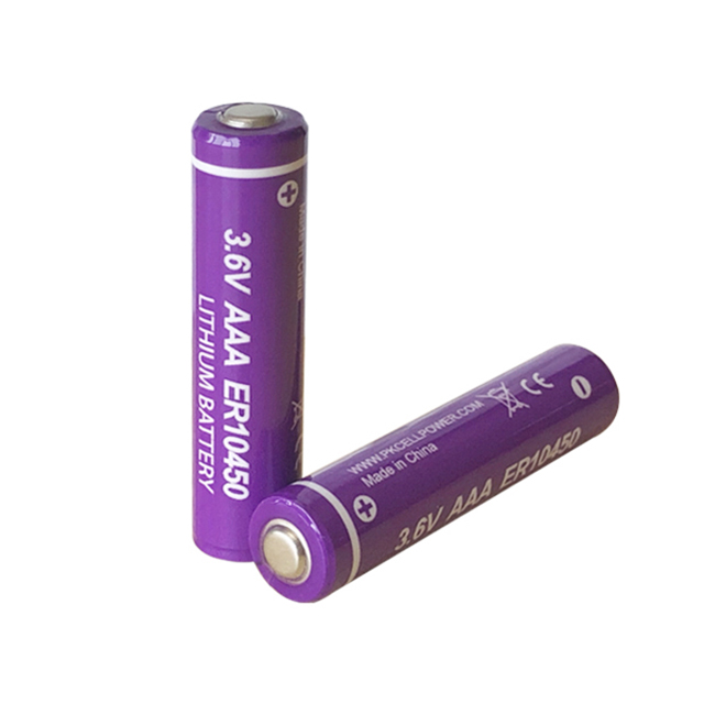 Li-SOCL2 pkcell lithium battery 800mah 3.6v er10450 dry aaa battery