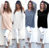 Autumn Women V Neck Sweater Ladies Long Sleeve Knitted Sweater Tunic