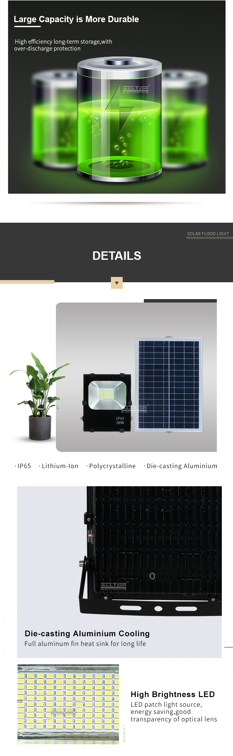 ALLTOP Super bright energy saving aluminum ip65 outdoor waterproof 10 20 30 50 100 w solar led flood light