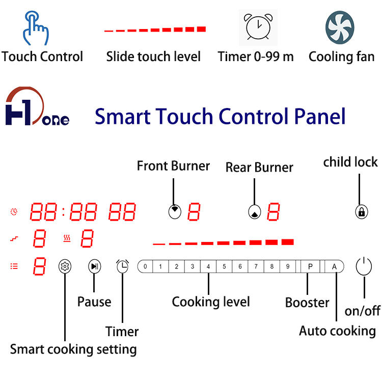HONE WIFI Smart Single Ending Main Board Aluminum Coil Built in 2 Rings Induction Cooktop for Housewife