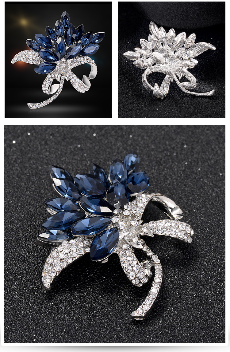 Luxury Exquisite Bridal Rhinestone Crystal Flower Alloy Brooch for Women Wholesale