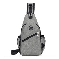 Wholesale Men Shoulder Sling Crossbody Backpack School Chest Bag With USB Port