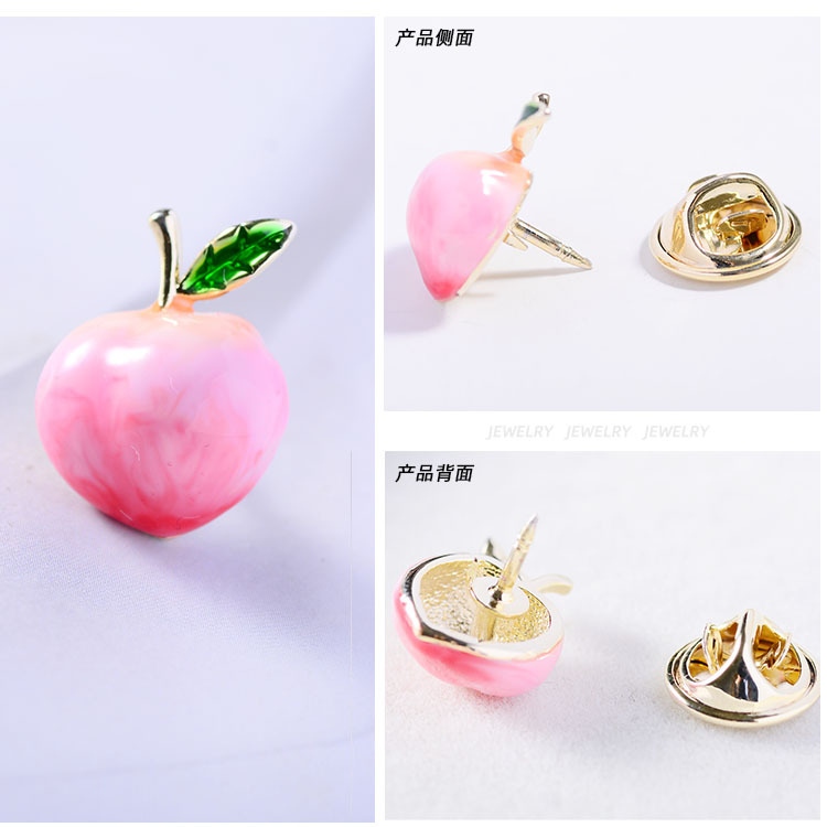 OM001 Trade Assurance New Design Fashion Japanese Cute Fruit Brooch Pin Gold Plated Pink Drop Oil Peach Women Brooches