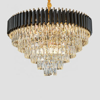 2020 round indoor luxury pendant light black gold LED hanging lights home nordic modern k9 crystal chandelier
