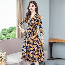 Женское винтажное платье миди с желтым принтом на осень и зиму 4XL размера плюс, элегантное облегающее вечернее платье с длинным рукавом, 2019(Китай)