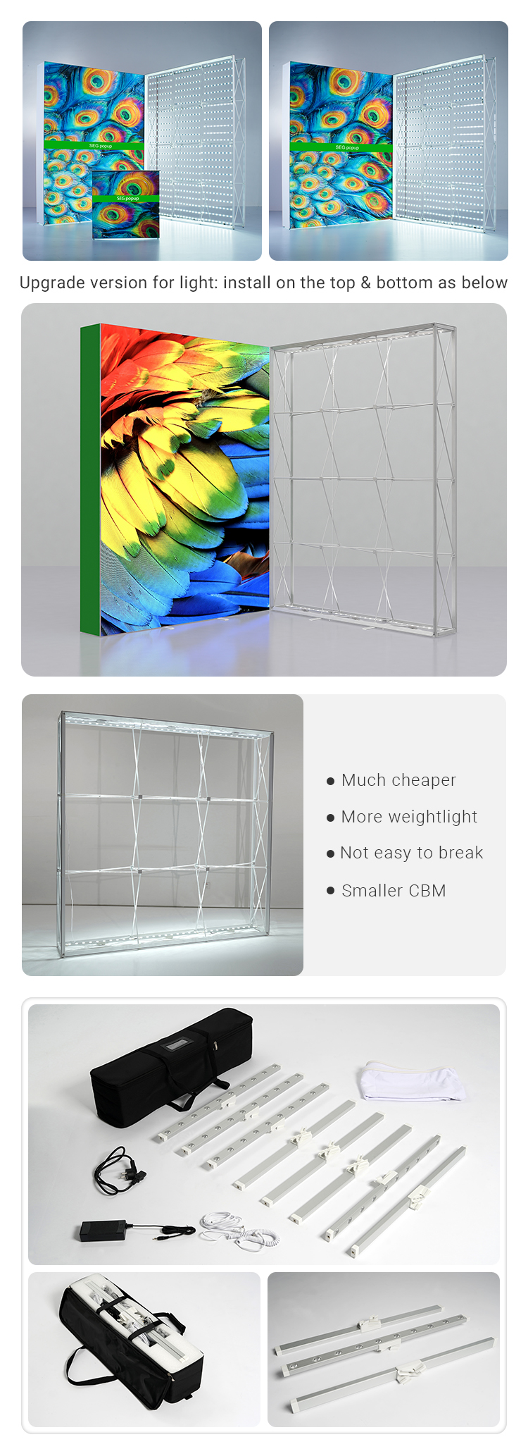 Modular fabric backlit pop up display exhibition stand for 10x8ft