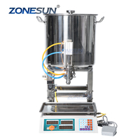 ZONESUN Semi Automatic Paste Pneumatic Can Hand Sanitizer Honey Cooking Oil Small Bottle Weighing Filling Machine