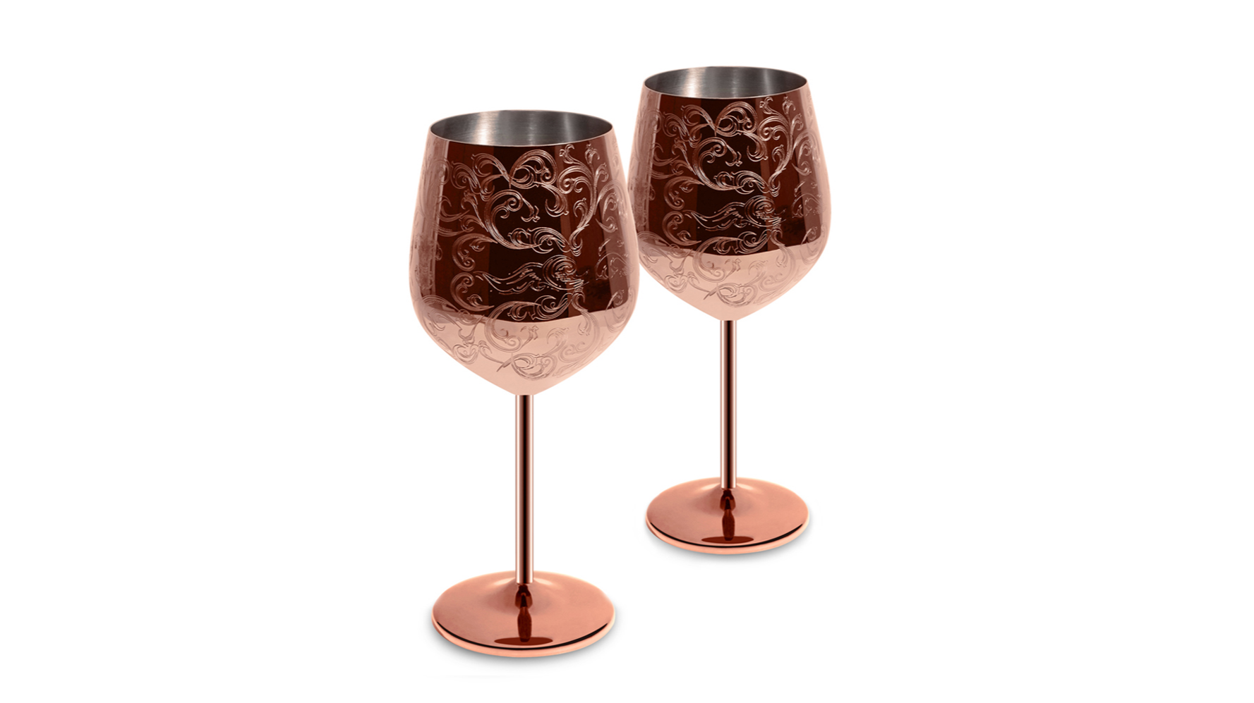 New Copper Plated Etched Stainless Steel Wine Goblet Wine Glasses Set of 2
