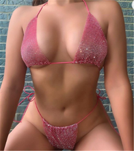 Custom Private Label Diamond Crystal Mini String Thong Extreme Micro Vrouwen Badmode <span class=keywords><strong>Sexy</strong></span> <span class=keywords><strong>Bikini</strong></span>