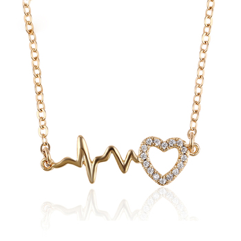 44524 Xuping high quality 18k gold plated fashion shock-like heart shape necklace