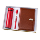 Customized A5 leather diary with ring binder with USB flash and Vacuum Flask Cup and Pen Gift Set
