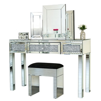 Modern diamond crush furniture mirrored dressing table with mirror and stool