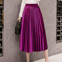 2019 Casual Plus Size Velvet A Line High Waist Long Pleated Skirt