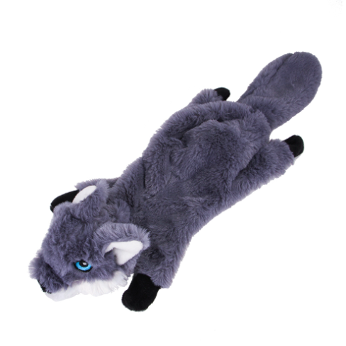 hot sales bite resistance animal Squirrel fox wolf no stuffing plush squeaky dog chew toy