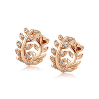 98889 xuping fashion wholesale cheap rose gold plated leaf inlayed white zircon stud women's earring