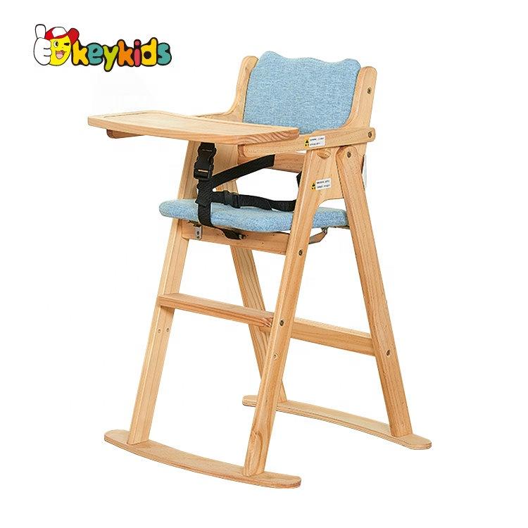2020 пользовательский складной детский деревянный высокий стул для кормления W08F052