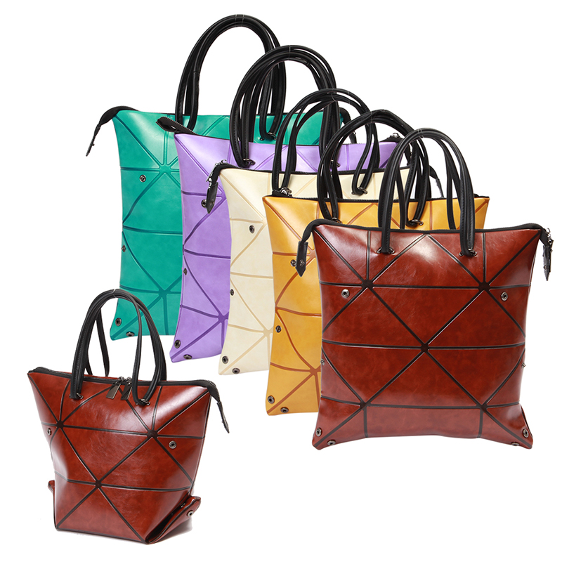 Factory Direct Sale Pull Up Color Changing PU Leather Ladies Bag 4 way Foldable Geometric Bucket Bag for Women Handbag bolso