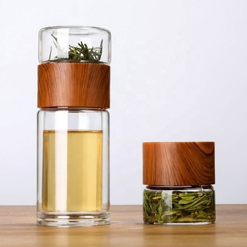 YIWU CHUFENG Best Selling Products 2020 Two Layers Leak Proof Tea Maker Glass Bottles with Wood Cap