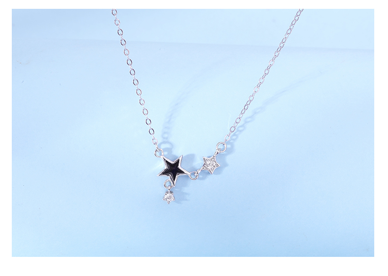 Rhodium color 925 sterling silver tiny star with  zircon Clavicular chain necklace for women