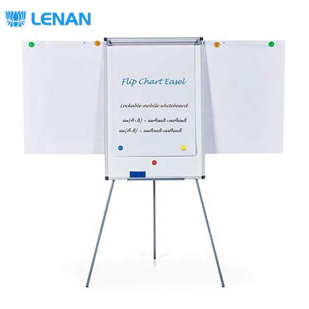 90x60cm magnetic mobile white board flip chart stand foldable tripod flip chart board for office meeting